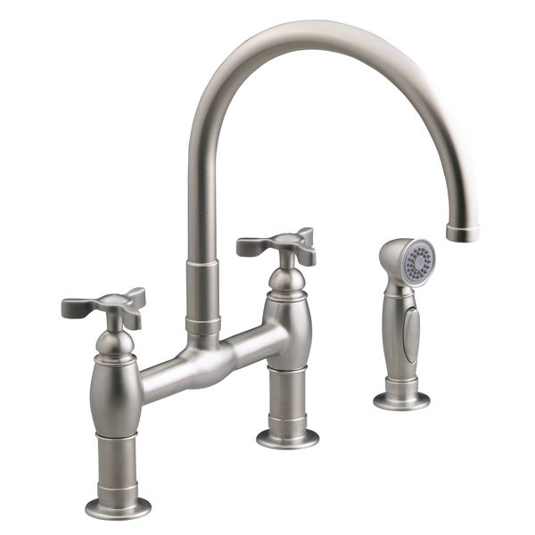 Kohler Parq Steel Deck Mount Bridge Kitchen Faucet With