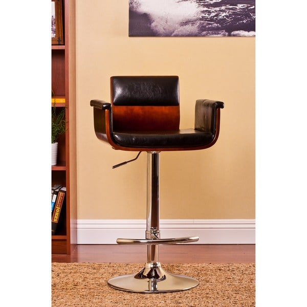 Contemporary Swivel Adjustable Bar Stool With Arm Rests