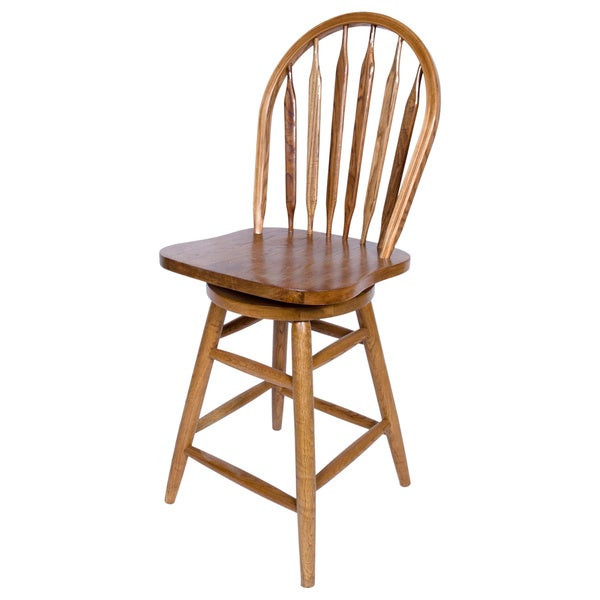 Solid Medium Oak Windsor Back Swivel Bar Height Bar Stool