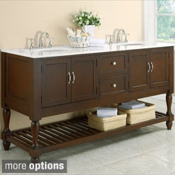 Dark Brown/ Marble Mission 70-inch Double Vanity Cabinet