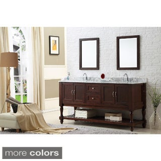 Direct Vanity 70-inch Dark Brown Mission Double Vanity Cabinet