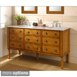 Harvest Honey Oak Double Vanity Sink Cabinet