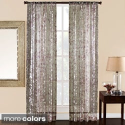'Olivia' 84-inch Sheer Scroll Print Curtain Panel