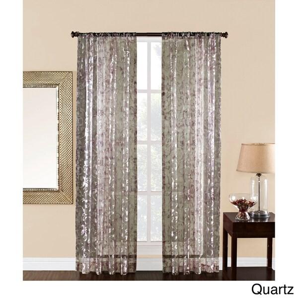 Olivia 84 inch sheer scroll print curtain panel 15359323