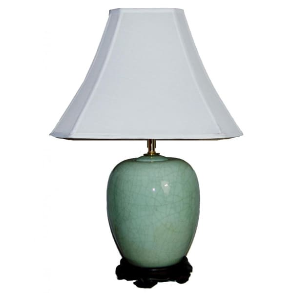 Blue Crackled Melon Jar Table Lamp