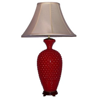 Tall Red Mottled Hobnail Table Lamp