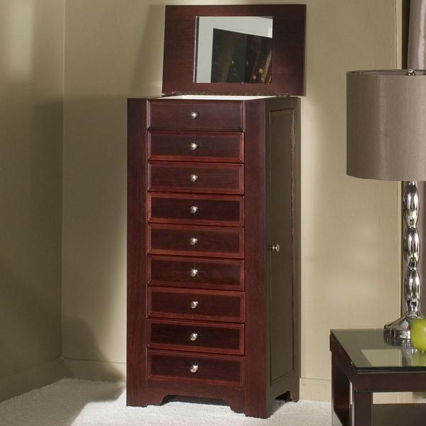 Cherry Veneer Freestanding 8-drawer Jewelry Armoire