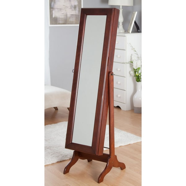 Freestanding Swivel Mirrored Jewelry Armoire