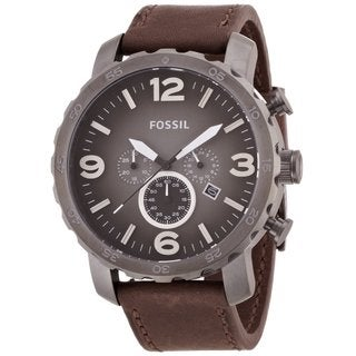 Fossil Men's 'Nate' Chronograph Brown Leather Watch