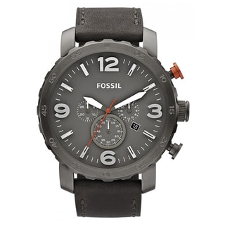 Fossil Men's 'Nate' Chronograph Grey Leather Strap Watch