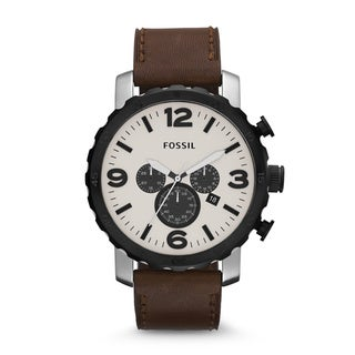 Fossil Men's 'Nate' Brown Leather Strap/ Beige Dial Watch