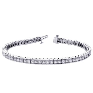 14k White Gold 8 1/4ct TDW Princess Cut Diamond Tennis Bracelet (F-G, SI1)
