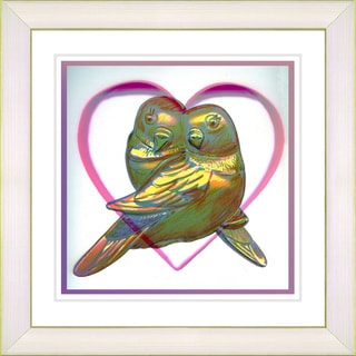 Studio Works Modern 'Love Birds - Yellow' Framed Print