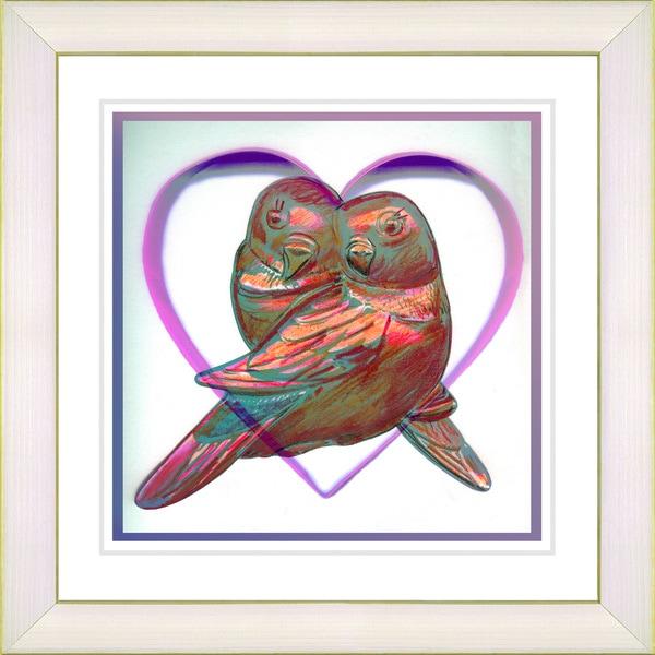 Studio Works Modern 'Love Birds - Red' Framed Print