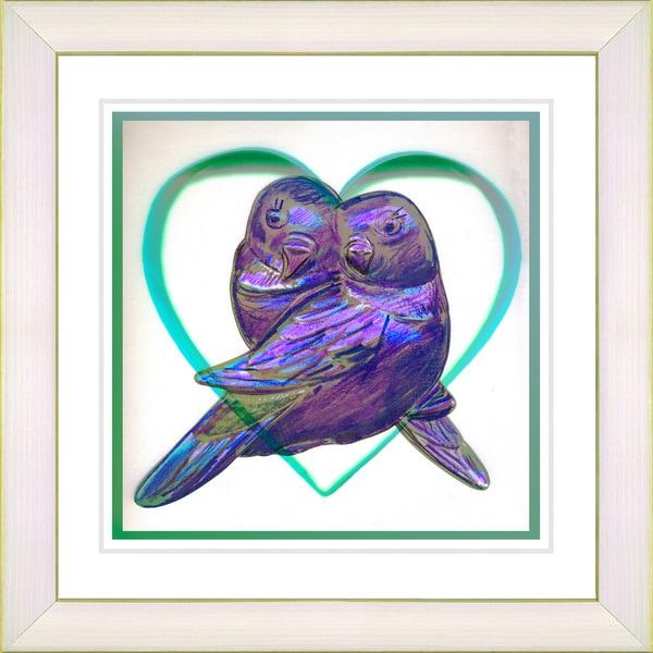 Studio Works Modern 'Love Birds - Purple' Framed Print