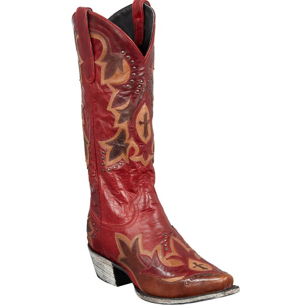 Stella Women's Red Leather Cowboy Boots