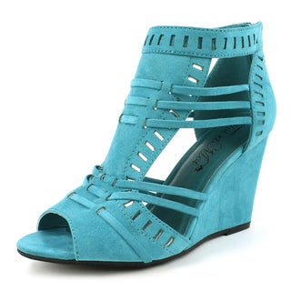 Toi et Moi Women's 'Elisha-01' Teal Bohemian Wedge Sandals