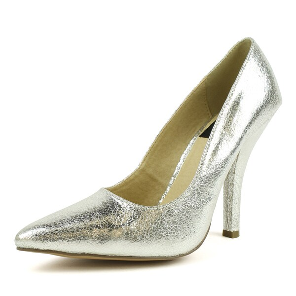 Fahrenheit Women's 'NAYA-01' Silver Metallic Pointed-toe Heels