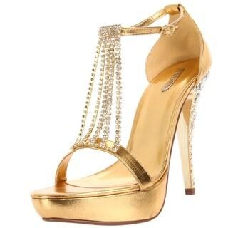 Celeste Women's 'MIMI-09' Gold Crystal T-strap Heels