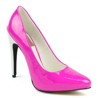 Fahrenheit Women's 'SUNNY-07' Fuchsia Two-toned Pointed-toe Heels