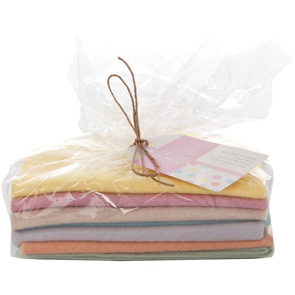 Papermania Spots/Stripes Pastels A4 Felt Bundle-7 Pieces