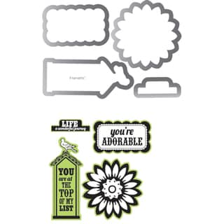 Sizzix Framelits Dies 4/Pkg With Clear Stamps By Echo Park-This & That; Graceful