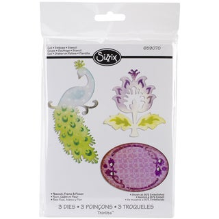 Sizzix Thinlits Dies 3/Pkg-Peacock, Frame & Flower