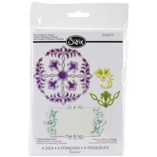Sizzix Thinlits Dies 4/Pkg-Ornate Flowers & Tag