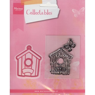 "Marianne Designs Collectables Dies With Stamps-Birdhouse/Home 1.75"", Butterfly .75"""