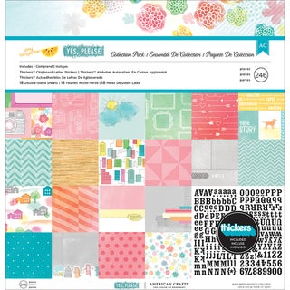 "Amy Tangerine Yes Please Collection Pack 12""X12""-18 Double-Sided Papers + Alpha Thickers"