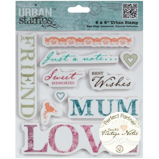 "Papermania Vintage Notes Urban Stamps 6""X6""-Sentiments"