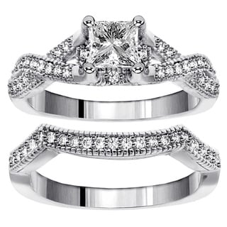 18k White Gold 1 1/6ct TDW Princes-cut Diamond Braided Bridal Set