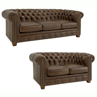 Hancock Tufted Distressed Brown Italian Chesterfield Leather Sofa and Loveseat