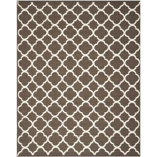 Safavieh Hand-Woven Moroccan Reversible Dhurrie Geometric Brown Wool Rug (9' x 12')