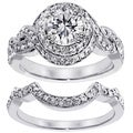 Platinum 2 7/8ct TDW Pave Set Halo Diamond Bridal Set