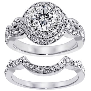 Platinum 2ct TDW Pave Set Halo Clarity Enhanced Diamond Bridal Set (F-G, SI1-SI2)