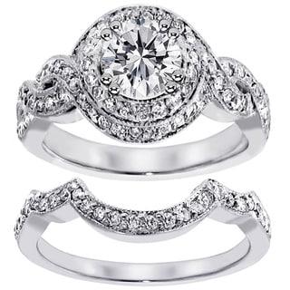 Platinum 2ct TDW Pave Set Halo Clarity Enhanced Diamond Bridal Set (F-G, SI1-SI2)