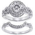 14k White Gold 2 7/8ct TDW Pave Set Halo Diamond Bridal Set