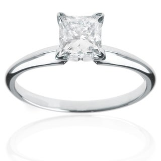 14k White Gold 1ct Princess Solitaire Engagement Ring (H-I, SI1-SI2)