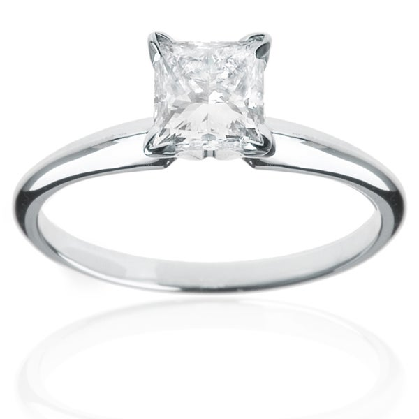 Montebello 14k White Gold 1/4ct Princess Solitaire Engagement Ring (H-I, SI1-SI2)