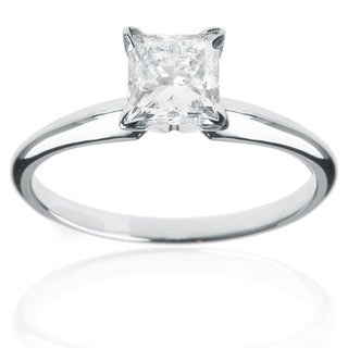 Montebello 14k White Gold 1/2ct Princess Solitaire Engagement Ring (G-H, VS1-VS2)