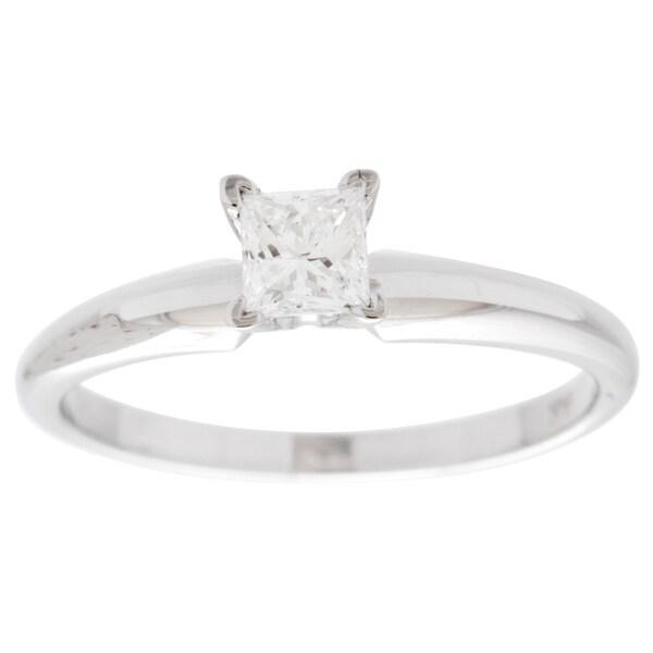 14k White Gold 1/3ct Princess Solitaire Engagement Ring (G-H, VS1-VS2)