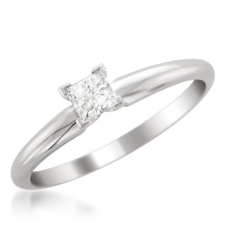 14k White Gold 1/3ct Princess Solitaire Engagement Ring (G-H, VS1-VS2)