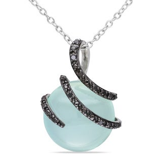 Miadora Sterling Silver Blue Chalcedony and Black Diamond Necklace