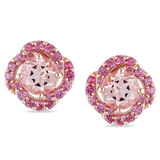 Miadora Rose Plated Silver Pink Tourmaline and Morganite Stud Earrings