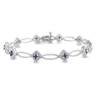 Miadora Sterling Silver 1ct TDW Blue and White Diamond Bracelet