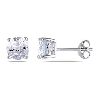 M by Miadora Sterling Silver 2ct TGW Cubic Zirconia Solitaire Earrings