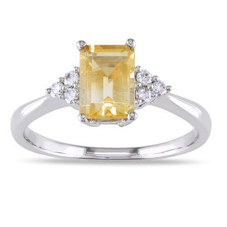 Miadora 14k White Gold Citrine and 1/10ct TDW Diamond Ring (G-H, I1-I2)
