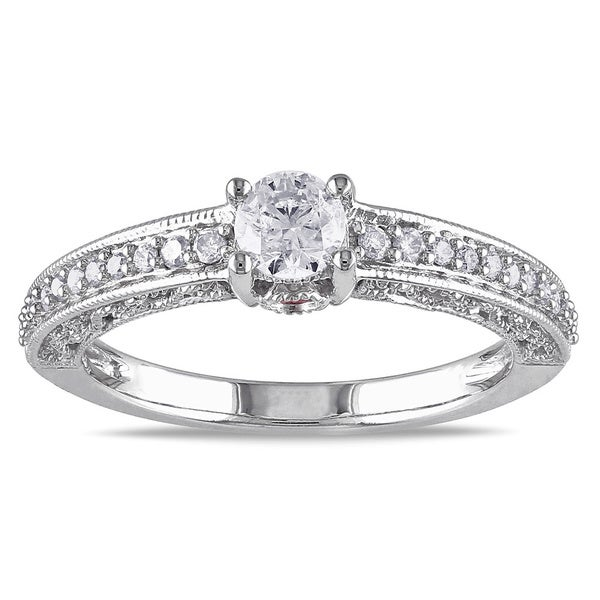 L'Amour Enrose by Miadora 14k White Gold 1/2ct TDW Diamond Engagement Ring (G-H, I2-I3)