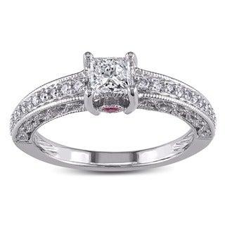L'Amour Enrose by Miadora 14k White Gold 1/2ct TDW Princess Diamond Engagement Ring (G-H)